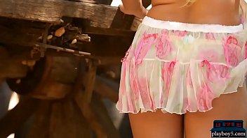 Incredible blonde teen babe Tahlia Paris strips naked