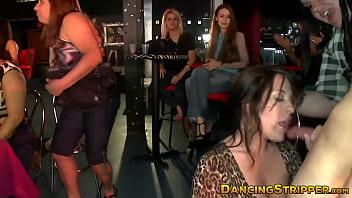 Aroused party babes deepthroat huge stripper dicks