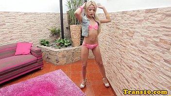 Solo tiny latina tgirl spreading butt cheeks