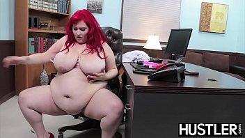 Redhead BBW Eliza Allure jizz smeared after office banging