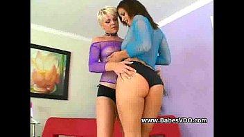 Two horny sluts milking dick