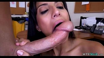 Hot Latina cleaning lady sucks his dick