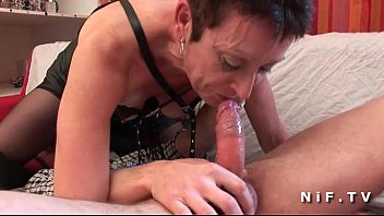 French mature in stockings deep throat fucking and hard banged