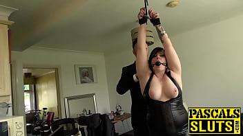 Chubby British woman is ready for hardcore bondage sex