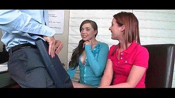 2 girls suck teacher at highschool