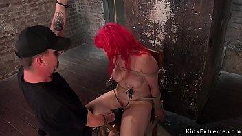 Big boobs redhead anal fucked in hogtie