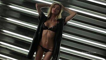 Delicate blonde cutie teasing in sexy black lingerie