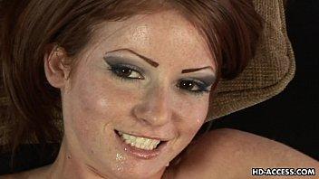 Attractive redhead strokes her kinky lover'_s stiff prick
