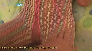 Amazing babe Starri Knight in Fishnet Bodystocking gets groped