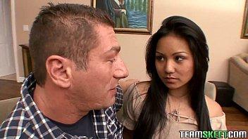 Teamskeet Asian petite teen Lana Violet hardcore fucking facial cumshot