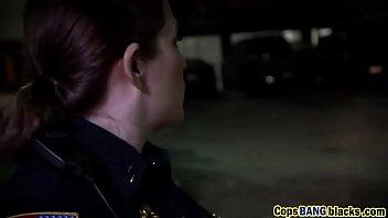 Three way sex pleases horny female cops