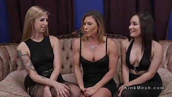 Threesome lezdom anal strap on fucking