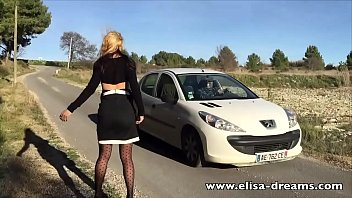 Sexy and flashing on the road
