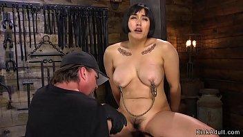 Hairy Asian bbw toyed in hogtie