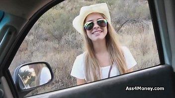 Stranded blonde cowgirl sucks dick for money