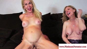 Erica Lauren and Nina Hartley share cock