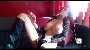 big tits smoking break
