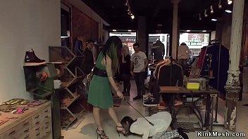 Hottie has gangbang in public boutique