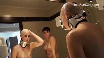 Bald Headed Lesbians - Lesbian girl shaves her nude slut's head smooth.