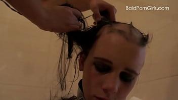 Lesbian girl shaves her nude slut'_s head smooth bald - BaldPornGirls.com