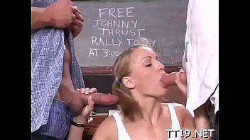 Virginal looking schoolgirl bends over and gets spanked hard