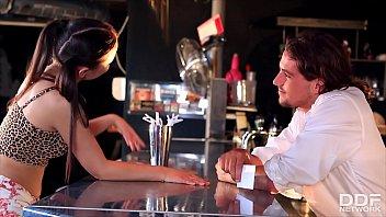 Petite long-haired teen Anina Silk blows &amp_ fucks bartender&rsquo_s big hard shaft
