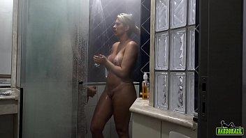 Katharine Madrid bathing with Big Bambu before recording