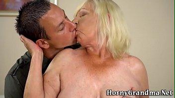 Gran with big saggy tits rides and sucks