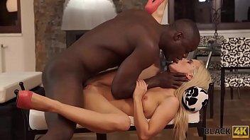 BLACK4K. Tender creature enjoys shaft in crazy black on white video