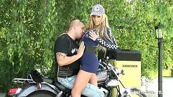 Biker beauty gets rammed by her man outdoors