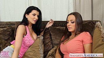 Busty lesbians Abigail Mac and Romi Rain toy twats