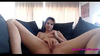 Sweet girl masturbates on webcam