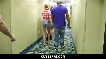 Hot Cowgirl Teen Best Friends Meet Guys At Club Orgy