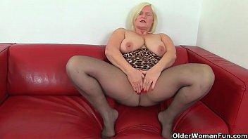 English milf Christina X puts purple dildo to work