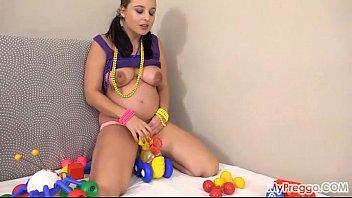 Pregnant Alyssa Fucks Herself with Children's Toys!