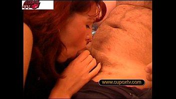 Redhead housewife in threesome