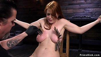 Natural big tits redhead zippered