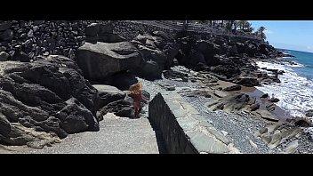 TRAVEL SHOW ASS DRIVER -  Walk along the beaches of Gran Canaria with Sasha Bikeeva in a micro-bikini. From San Agustin to Maspalomas