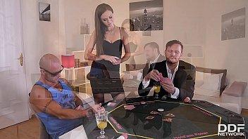 Leggy poker babe Tina Kay joins two studs for XXX hardcore anal threesome