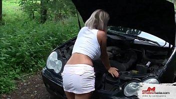Autopanne Fremder spritzt rein Creampie