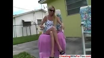 Back yard wife masturbation