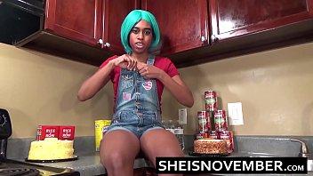 Ebony Step Sister Msnovember Is Fucked In Kitchen Hardcore Bro Sex &amp_ Blowjob POV