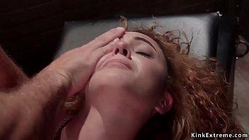 Brunette in doggy bondage fucked up ass