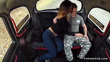 Toned guy fucks female fake taxi driver