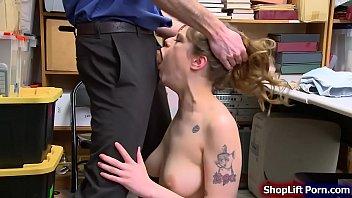Busty shoplifter sucks LP officers cock