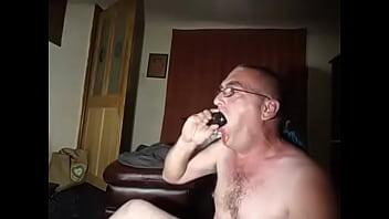 "deep throating my 8"" dildo till i puke"