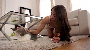 Petite amateur Russian teen Stefanie Moon has sex POV
