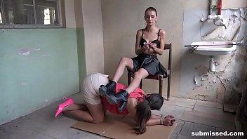 Struggling Babe in Lesbian Bondage Scene