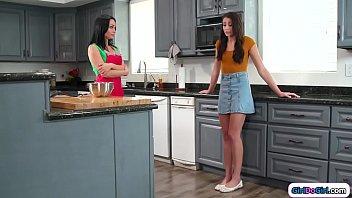 Virgin teen gets licked by busty stepmom