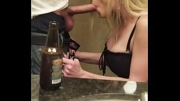 Strippper sucks cock while going pee